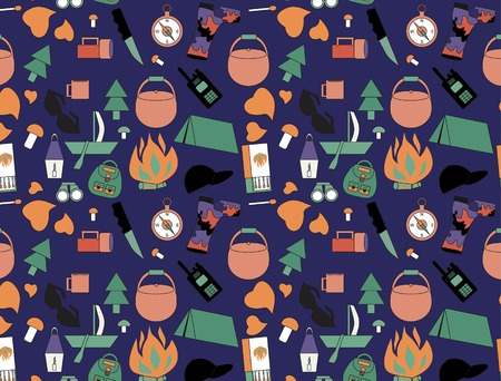 inflamed: pattern with tent, objects for tourism, the boat with a sail, forest mushrooms, a tree a fir-tree, a kettle for food, a hunting knife, camouflage boots, the inflamed fire, a lamp from candles, an electric small lamp, pattern set, dark glasses, boxes of ma