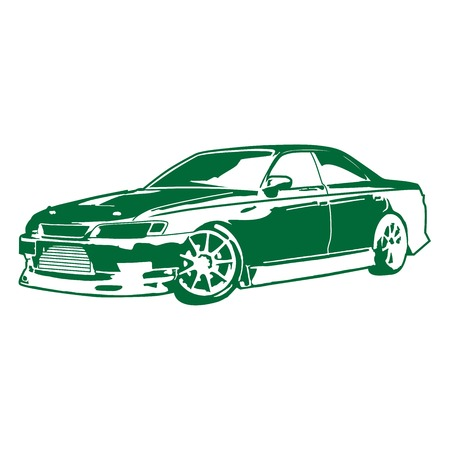 sideways: The isolated car, transport, the racing car, wheelbarrow model, the sketch of drawing, decorating, subject in the movement, costs sideways, a silhouette of a high-speed car, a vehicle,