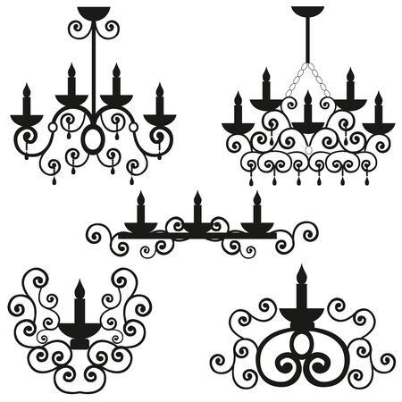 weighs: Chandeliers with a pattern on a ceiling, the burning candles in a candlestick, a black vector of lighting, design of a wall lamp, round curls from metal,