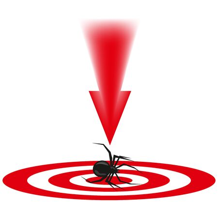 parasites: the spider a dangerous insect, an animal with paws, blows to the malefactor, an insect on a look, a red arrow, destruction of a being, insects with a thin body, long legs, to kill a creature