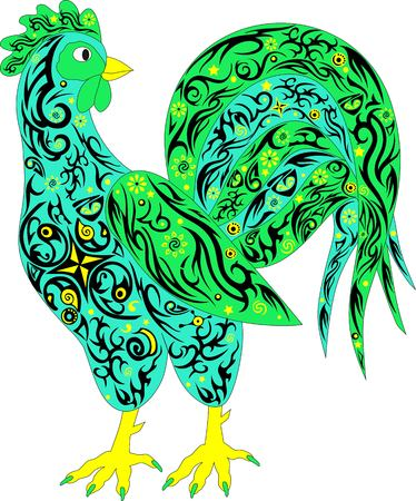 The rooster a symbol, chicken color, a pet, an animal with a pattern, a long tail, is beautifully decorated, the decorated, is a lot of decor elements, the vector illustration of a bird, costs sideways, a sharp beak, an evil eye, cock legs, Illustration