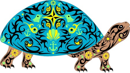 Vector overland turtle, reptile with the drawing on a body, an animal with a pattern, an armor with sea cockleshells and anchors, a decorative pet,
