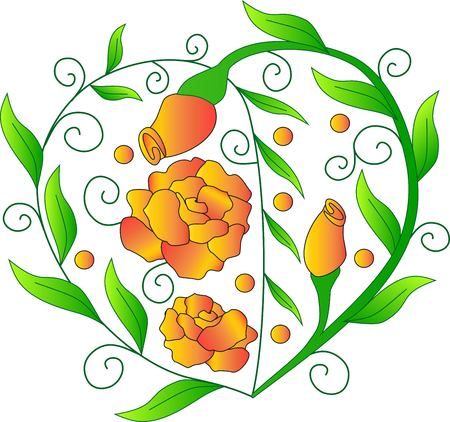 Heart from roses, orange flowers, an element St. Valentines Day, a vector plant, a festive object, a green leaf, transition of color, bright colors, a pattern from leaves, a cultivated flower, a rose bud
