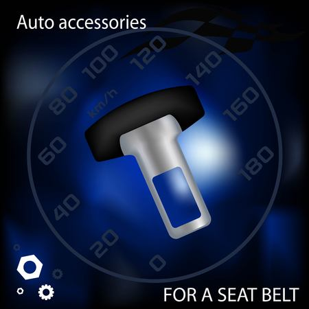 advertizing: Cap for a seat belt, a car an accessory, the leaflet advertizing, vector graphics, an illustration of an iron object, a car detail Illustration