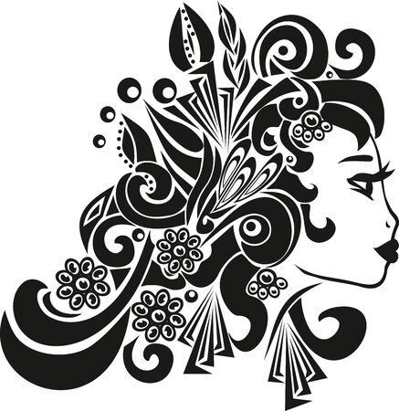 The womans profile, the head of the Spanish lady, the illustration of the person, the beautiful girl, the black lines, a flower in the hair, long ringlets, jewelry on the head, big lips, long eyelashes,