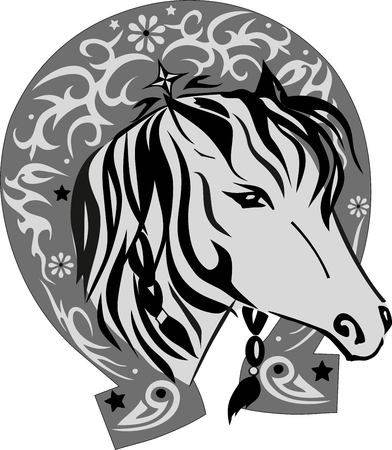 Horse a vector, an animal tattoo, an illustration a good luck symbol, a horseshoe with a pattern, a mane with the braided braids, an eye of a creature, a livestock, a horse silhouette, a muzzle with a nose, beautiful design, Flowers and stars, the black l Ilustrace