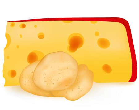 Chips with cheese, vector food, having a snack illustration, dairy products, big holes, an edible piece, thin slices