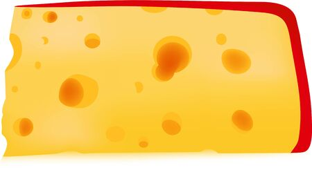 Cheese food, a vector an illustration, a product, a round hole, production from milk, red color, a snack slice, Illustration