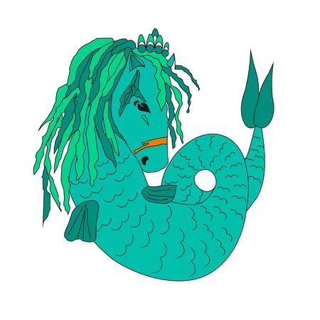 Sea horse, animal with a tail, an exotic animal, a vector illustration, the animation picture, turquoise color, a sea being, wild fauna