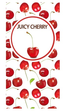 Cherry illustration a square banner on a white background. The design for cards, candies, is filled with cherries, the dessert menu, natural cosmetics advertising, Standard-Bild