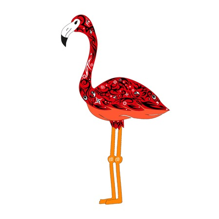 The image of a red flamingo, the bird with a pattern a vector, an animal cost sideways, an exotic fauna, an animal with the drawing from figures and flowers
