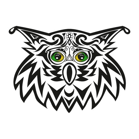 The head of an owl, tattoo of an eagle owl, vector a bird, a wild animal, a pattern from lines, green eyes, a beak on a muzzle, design of a creature, a fauna illustration