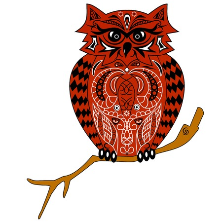 The owl sits on a branch, an illustration of an eagle owl with a pattern, the stylized bird, design from flowers and lines, an animal tattoo