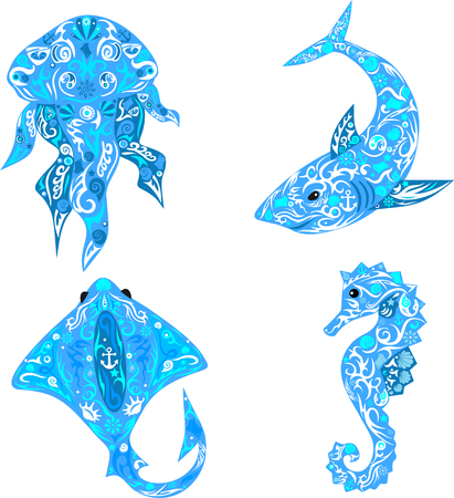 Sea animals, sea animals, animals and animals of depths, oceanic beast, decor element