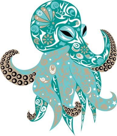 Octopus vector pattern, sea animal, sea animal