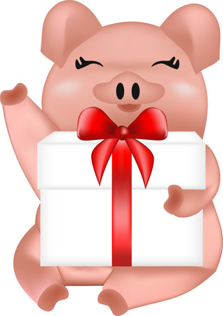 Pig with a gift box, pink pig, holiday animal, vector pet, home pet