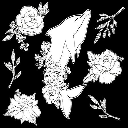 Dolphin with flowers, animal sticker Illustration