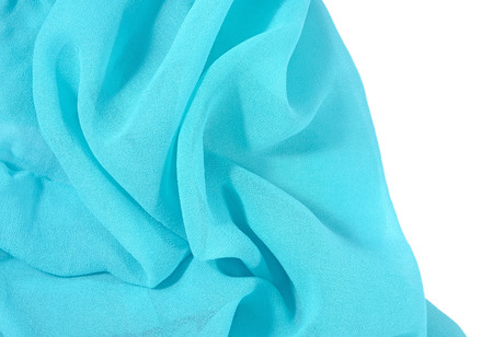 chine: Blue crepe de chine fabric on a white Stock Photo