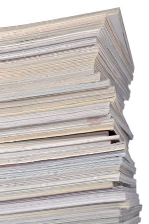 periodicals: Stack of old magazines on a white background