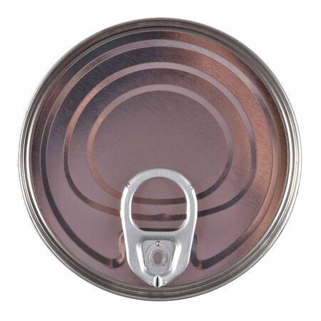 Unopened aluminium tin can. Top view. photo