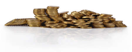 richer: Piles of gold coins on a white background