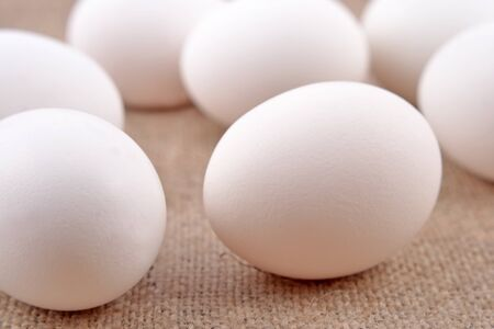 sacking: Eggs on a sacking background Stock Photo