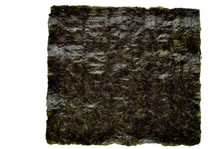 Nori seaweed sheet on a white background