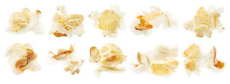 palomitas: Conjunto de palomitas de maíz sobre un fondo blanco