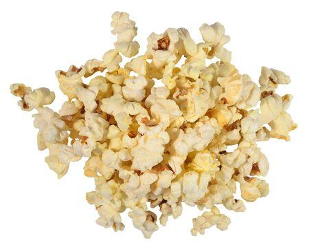 Heap of fresh popcorn on a white background photo