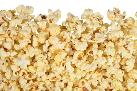 Fresh popcorn on a white background photo
