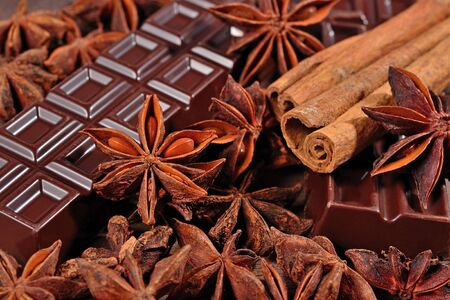 anis: Chocolate, star anise and cinnamon sticks close up as background