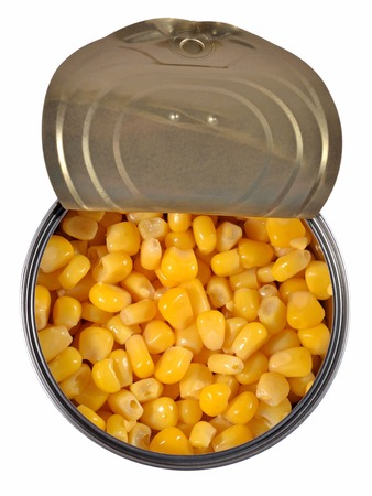 vegetable tin: Canned sweet corn in a tin can. Top view. Stock Photo