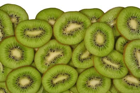 freshest: Heap of kiwi slices on a white background