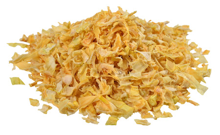 Heap of dried onions on a white background