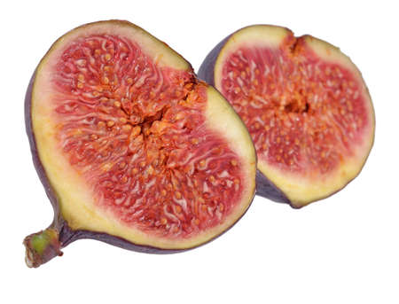 halved: Fresh figs halved on a white background Stock Photo