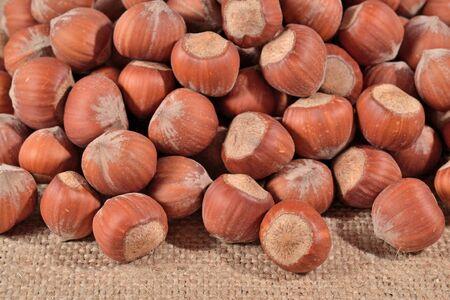 sacking: Hazelnuts in a sacking background