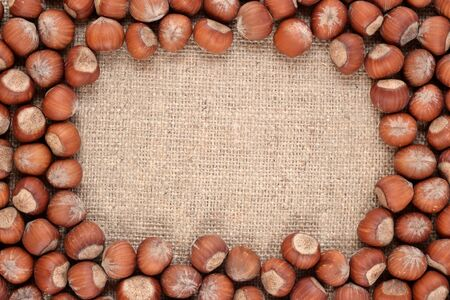 sacking: Frame of hazelnuts in a sacking background