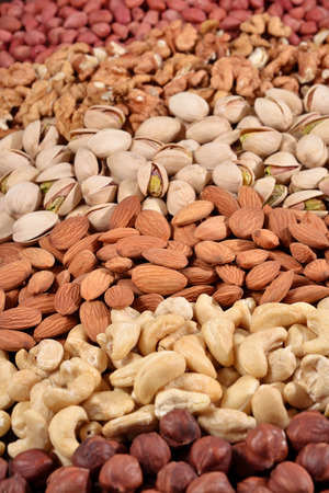 Assortiment noten als achtergrond textuur