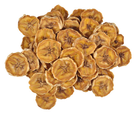 Heap of dried bananas on a white background photo