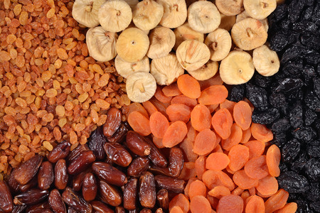 Various dried fruits as background texture