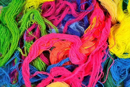 acrylic yarn: Multicolored acrylic yarn as background texture Stock Photo