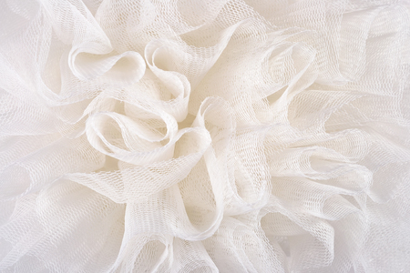 Witte verfrommeld tulle close up Stockfoto
