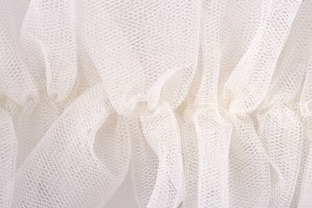 White crumpled tulle close up
