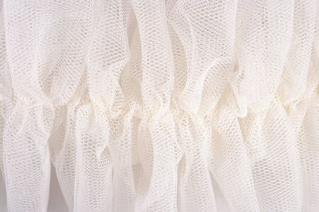 tulle: White crumpled tulle close up