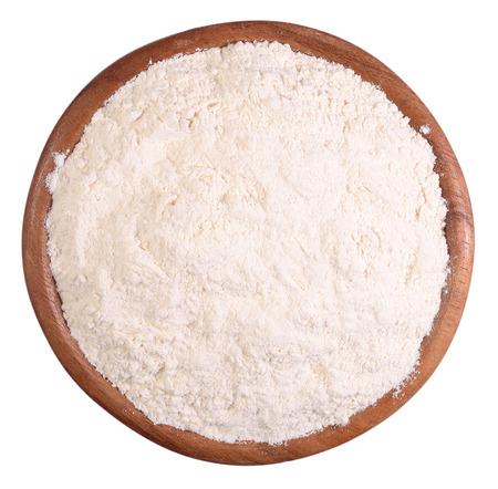Witte bloem in een houten kom op een witte achtergrond Stockfoto