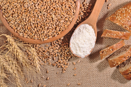 sacking: White flour in a wooden spoon wheat and bread on a sacking background