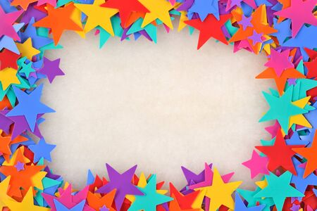 colorful frame: Frame of colorful stars. Multi-colored stars in the background