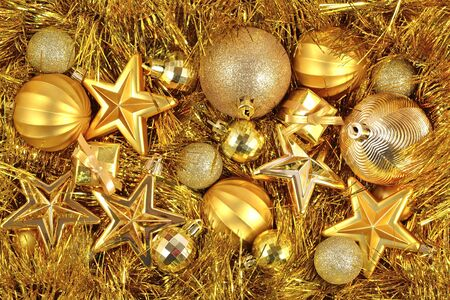 christmas decorations: Golden Christmas decorations for background