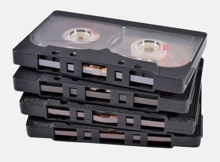 remix: Old vintage cassette tapes on a white background Stock Photo