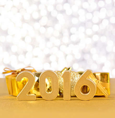 silvery: 2016 year golden figures on a silvery  background
